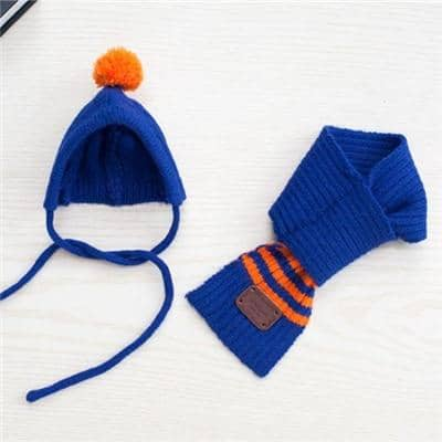 Primary Stripe Pom-Pom Hat & Scarf for dogs, dog clothes, dogs clothes, dog clothing, small dog clothes, dogs clothing, dog clothes female, dogs clothes boy, Dogs Clothes For Small To Medium Dog, Liz's Wonderland, BowWow Shop - Top Dog Outfits Store