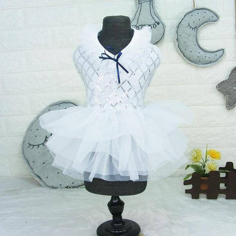 Dog Princess Dress with Sequin Patterned Bodice | Small to Medium Dog Fashion Clothing | BowWow shop Online