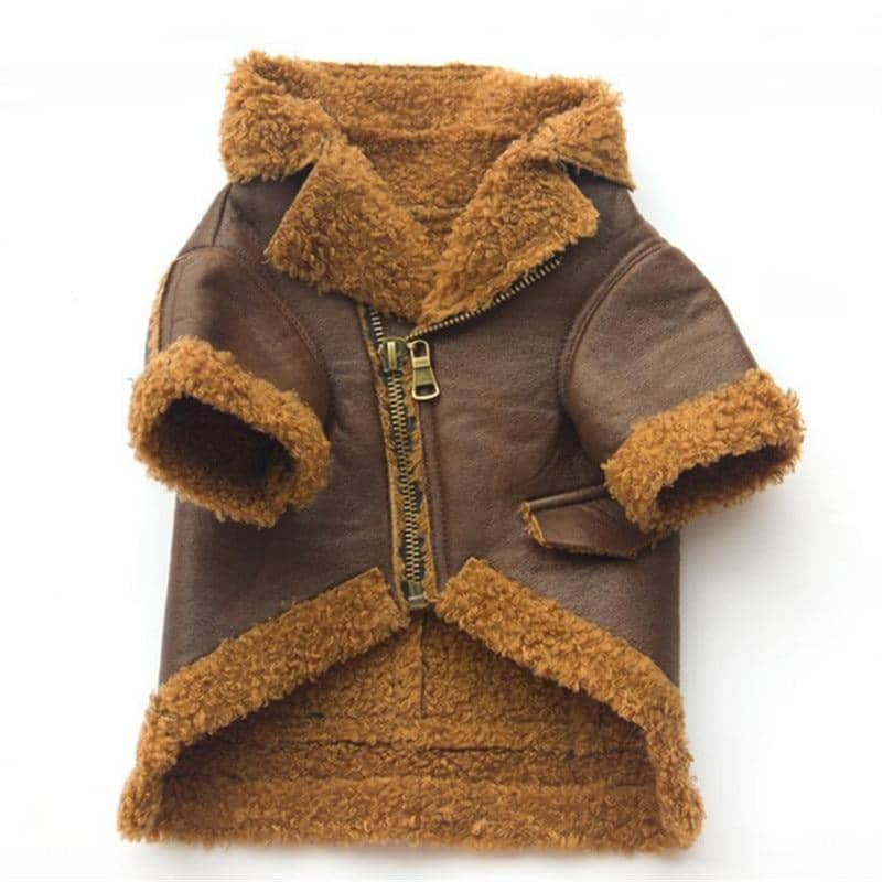 Dog PU Leather & Fleece Coat | Small to Medium Dog Fashion Clothing | BowWow shop Online