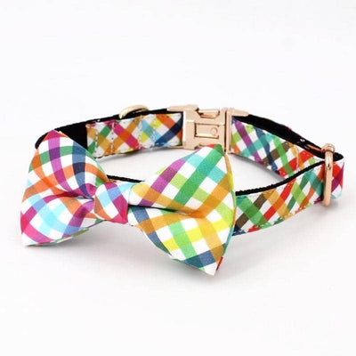 Rainbow Gingham Bow-Tie Collar & Leash Set for dogs, dog clothes, dogs clothes, dog clothing, small dog clothes, dogs clothing, dog clothes female, dogs clothes boy, Dogs Clothes For Small To Medium Dog, Free Sunday, BowWow Shop - Top Dog Outfits Store