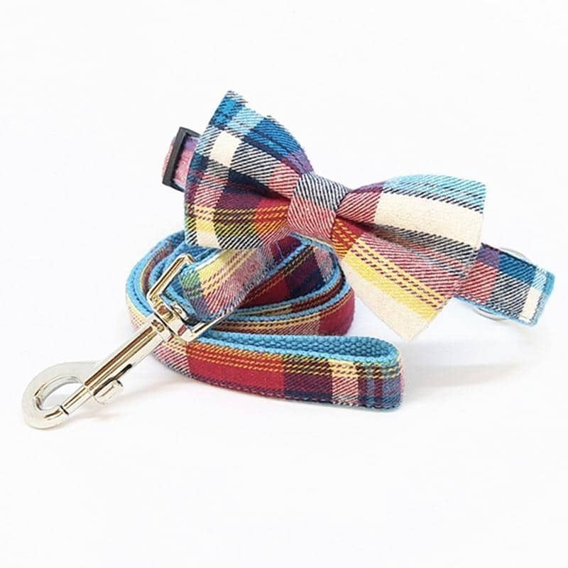 Dog Rainbow Plaid Bow-Tie Collar & Leash Set | Small to Medium Dog Fashion Clothing | BowWow shop Online