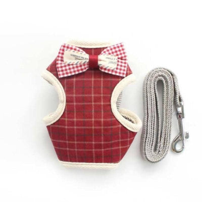 Red Tartan Gentleman Harness & Leash for dogs, dog clothes, dogs clothes, dog clothing, small dog clothes, dogs clothing, dog clothes female, dogs clothes boy, Dogs Clothes For Small To Medium Dog, Armi, BowWow Shop - Top Dog Outfits Store