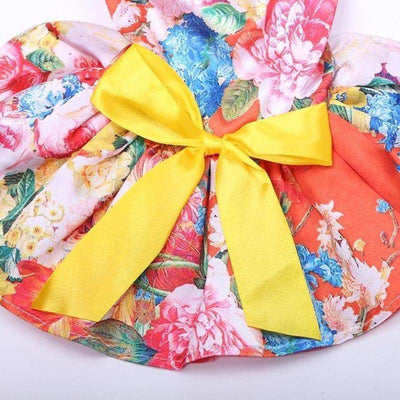 Dog Red Vintage Floral Frock | Small to Medium Dog Fashion Clothing | BowWow shop Online
