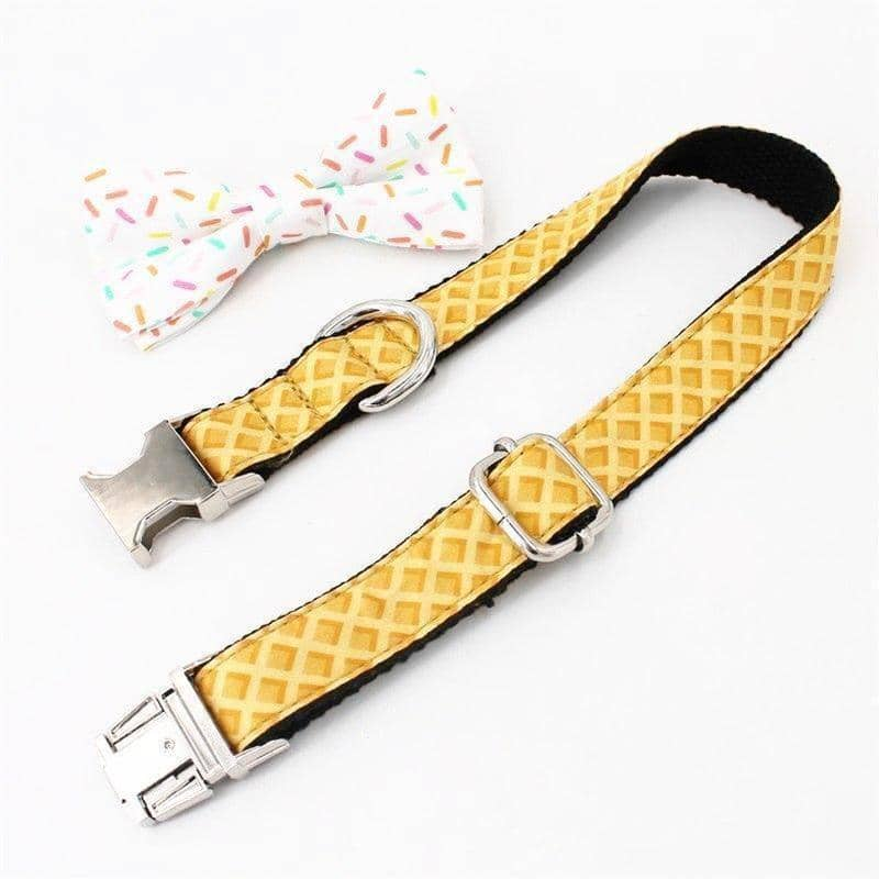 Dog Sprinkles & Waffle Bow-Tie Collar & Leash Set | Small to Medium Dog Fashion Clothing | BowWow shop Online
