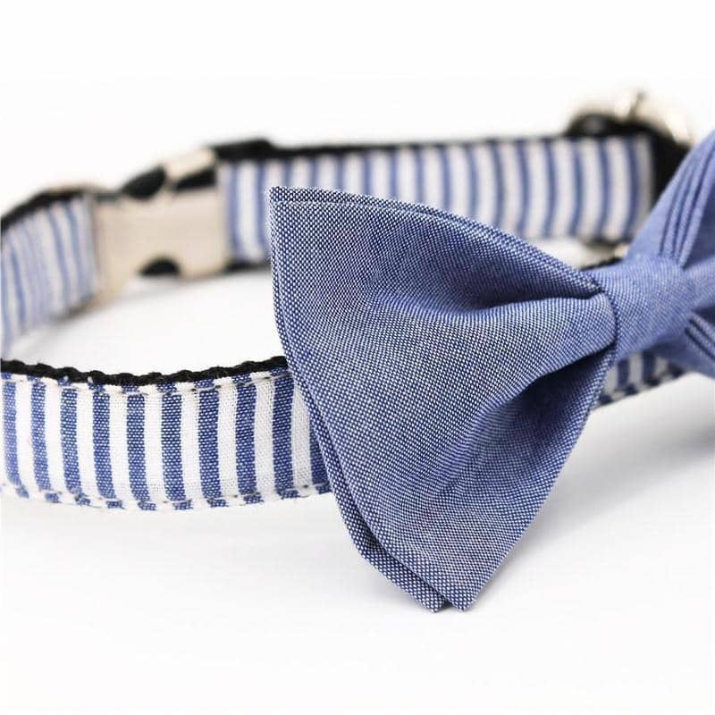 Stripe Bow-Tie Collar & Leash Set for dogs, dog clothes, dogs clothes, dog clothing, small dog clothes, dogs clothing, dog clothes female, dogs clothes boy, Dogs Clothes For Small To Medium Dog, Free Sunday, BowWow Shop - Top Dog Outfits Store