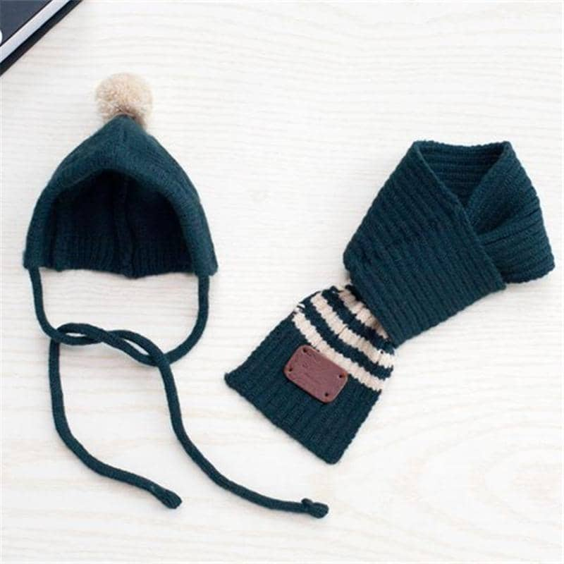 Dog Stripe Pom-Pom Hat & Scarf | Small to Medium Dog Fashion Clothing | BowWow shop Online
