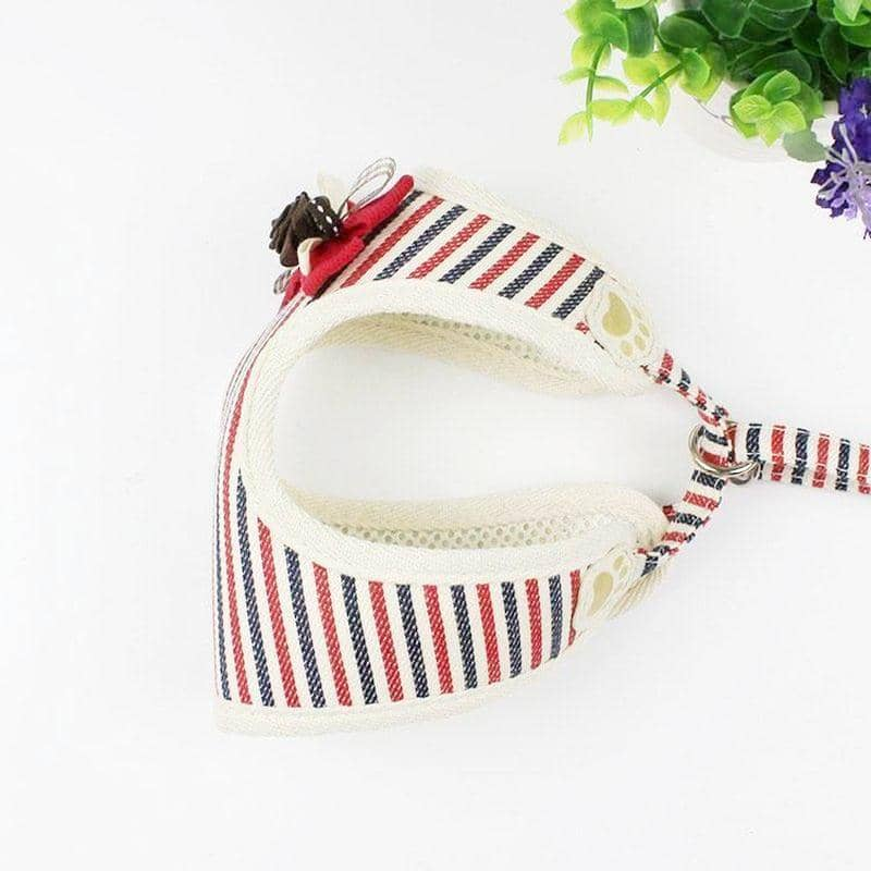 Dog Striped Harness with Bow-Tie | Small to Medium Dog Fashion Clothing | BowWow shop Online