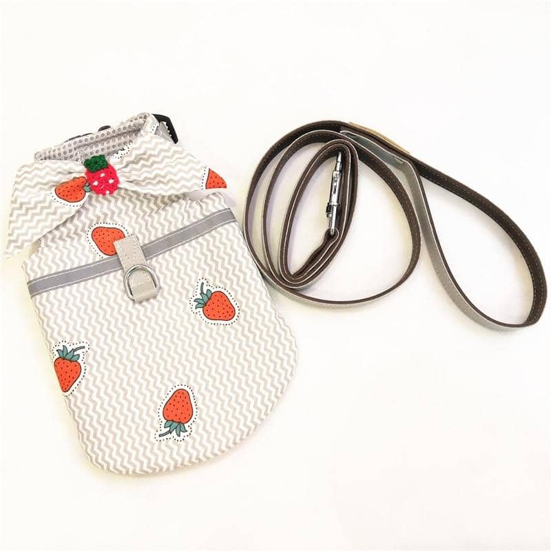 Sweet Strawberry Harness for dogs, dog clothes, small dog clothes, dogs clothing, dog clothes female, dogs clothes boy, Dogs Clothes For Small To Medium Dog, Liz's Wonderland, BowWow Shop - Top Dog Clothing Store