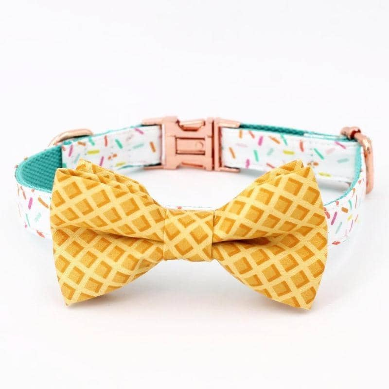 Dog Waffle & Sprinkles Bow-Tie Collar & Leash Set | Small to Medium Dog Fashion Clothing | BowWow shop Online