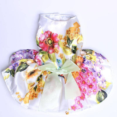 Dog White Vintage Floral Frock | Small to Medium Dog Fashion Clothing | BowWow shop Online