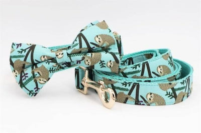Grey Sloth Bow-tie Collar & Leash Set