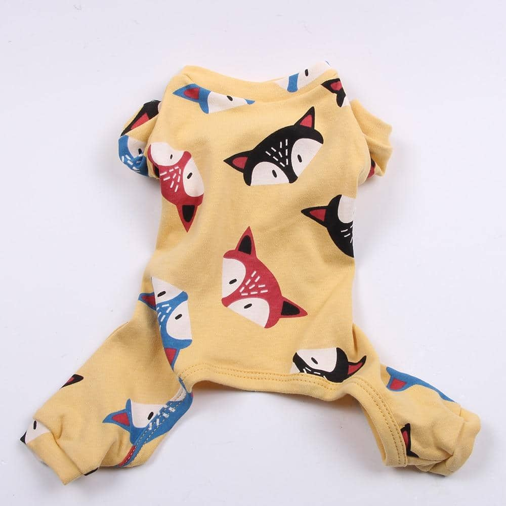 Yellow Frisky Fox Onesie for dogs, dog clothes, dogs clothes, dog clothing, small dog clothes, dogs clothing, dog clothes female, dogs clothes boy, Dogs Clothes For Small To Medium Dog, SKS, BowWow Shop - Top Dog Outfits Store