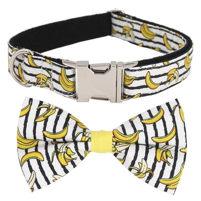 Bananas Bow-Tie Collar & Leash Set for dogs, dog clothes, dogs clothes, dog clothing, small dog clothes, dogs clothing, dog clothes female, dogs clothes boy, Dogs Clothes For Small To Medium Dog, Free Sunday, BowWow Shop - Top Dog Outfits Store