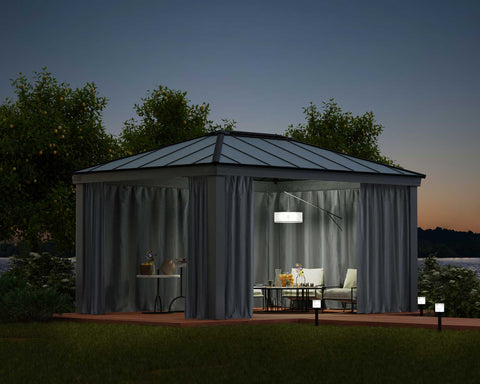 Dallas Gazebo with curtains and netting