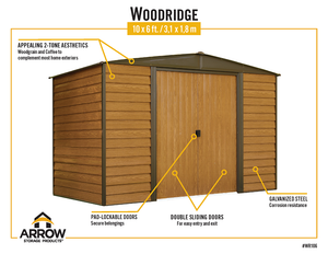 Steel Storage Shed Wood Finish