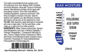 Max Moisture 5% Hyaluronic Acid Super Serum