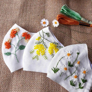 [CLEARANCE SALE] Flower Hand Embroidery Linen Mask