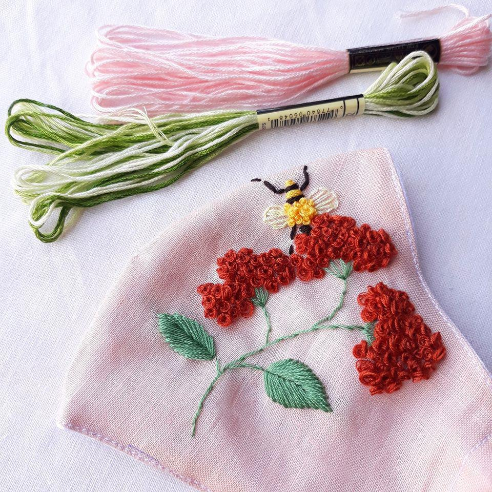 Sweet Bee Hand Embroidery Natural Linen Mask