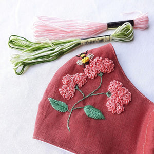 [CLEARANCE SALE] Sweet Bee Hand Embroidery Natural Linen Mask