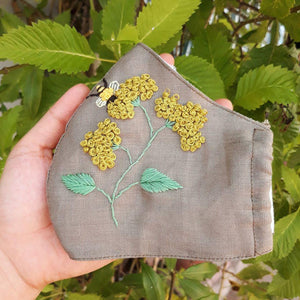 [BIG PROMO] Sweet Bee Hand Embroidery Natural Linen Mask