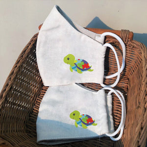 Turtle Autism Awareness Embroidery Linen Masks