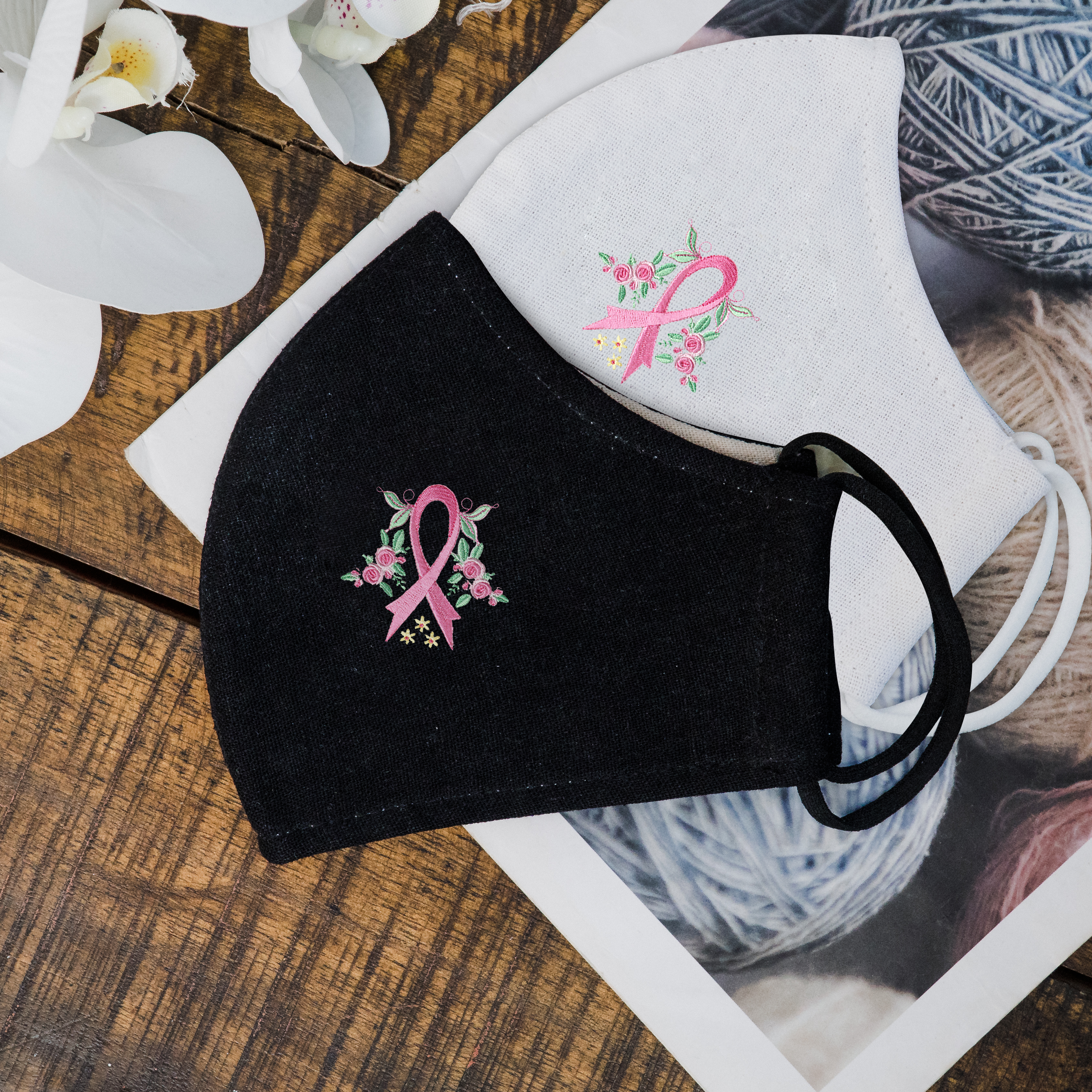 Floral Breast Cancer Awareness - Hand Embroidery Linen Mask
