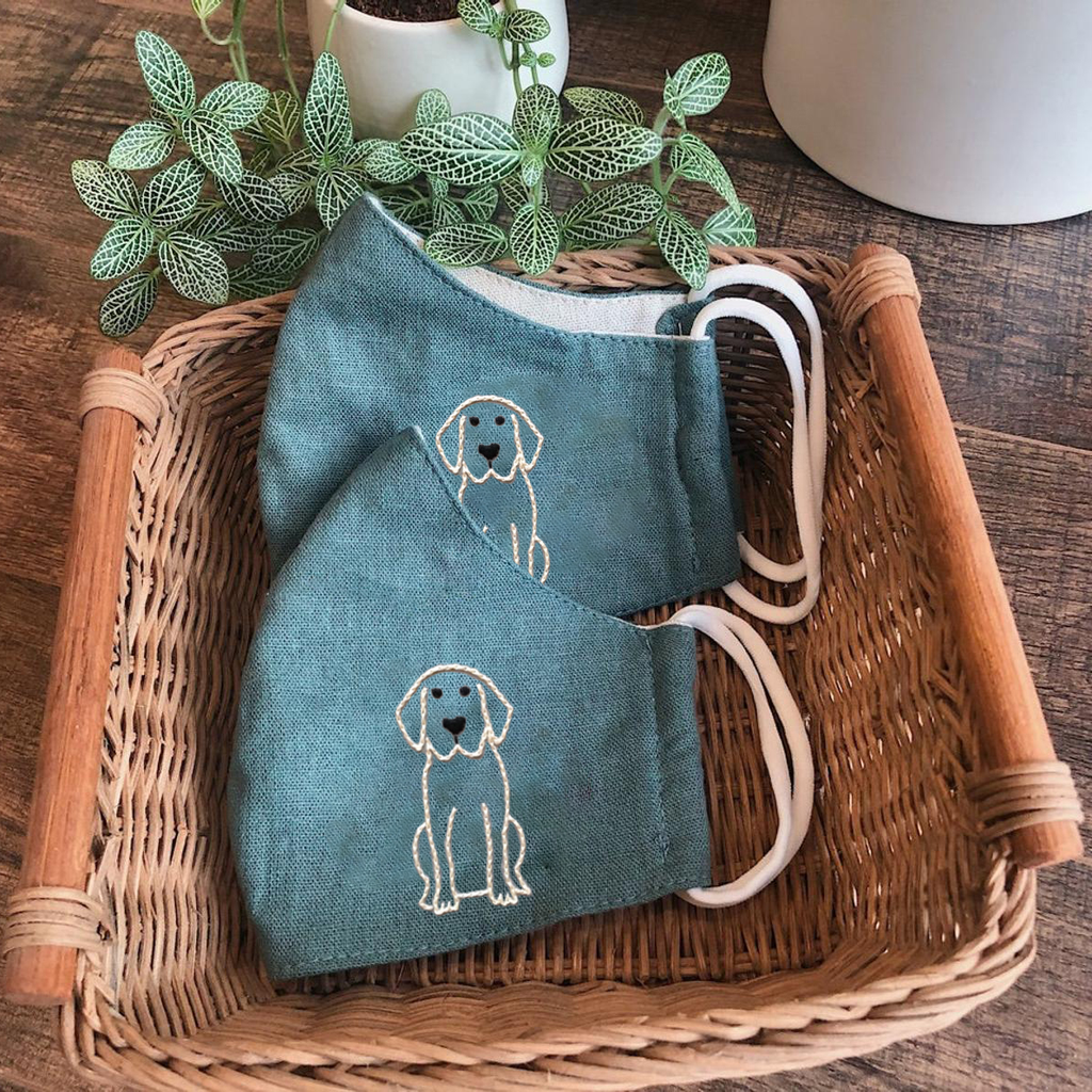 [CLEARANCE SALE] Retriever Hand Embroidery Linen FaceMask