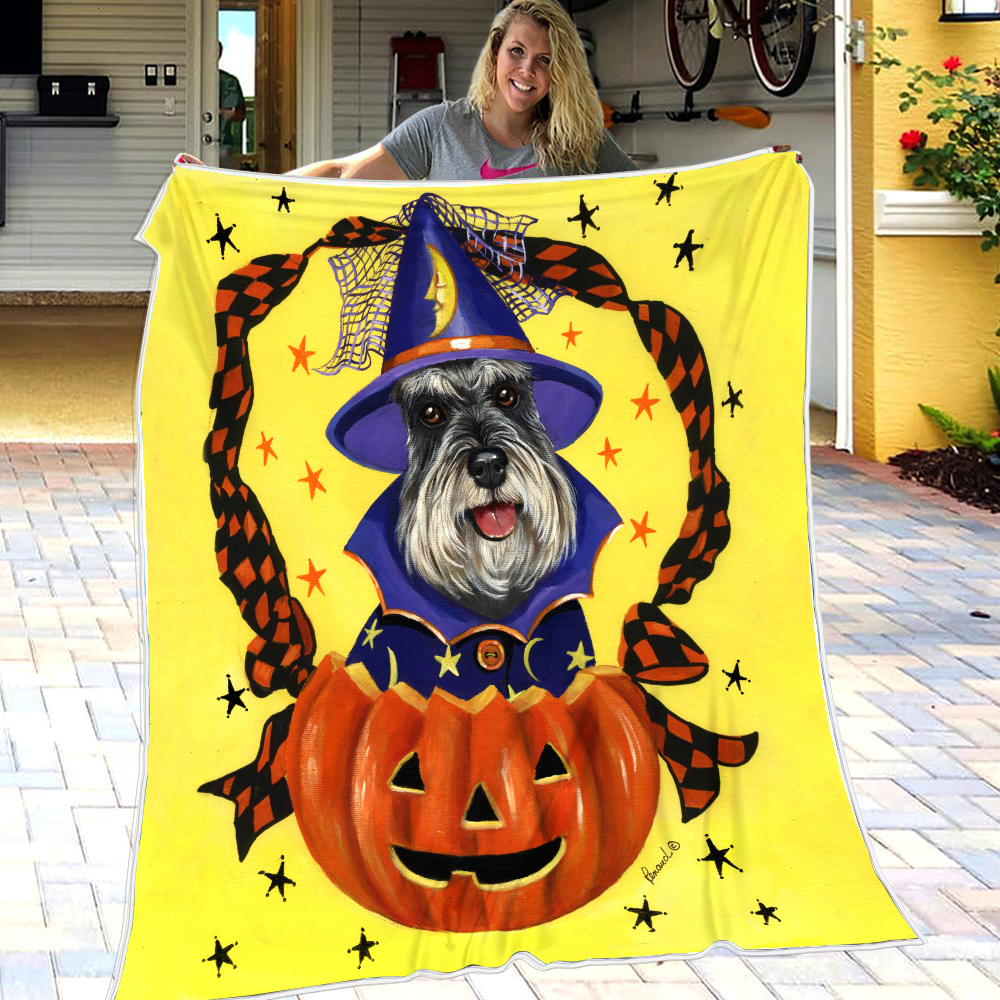 Miniature Schnauzer Pumpkins Fleece Blanket