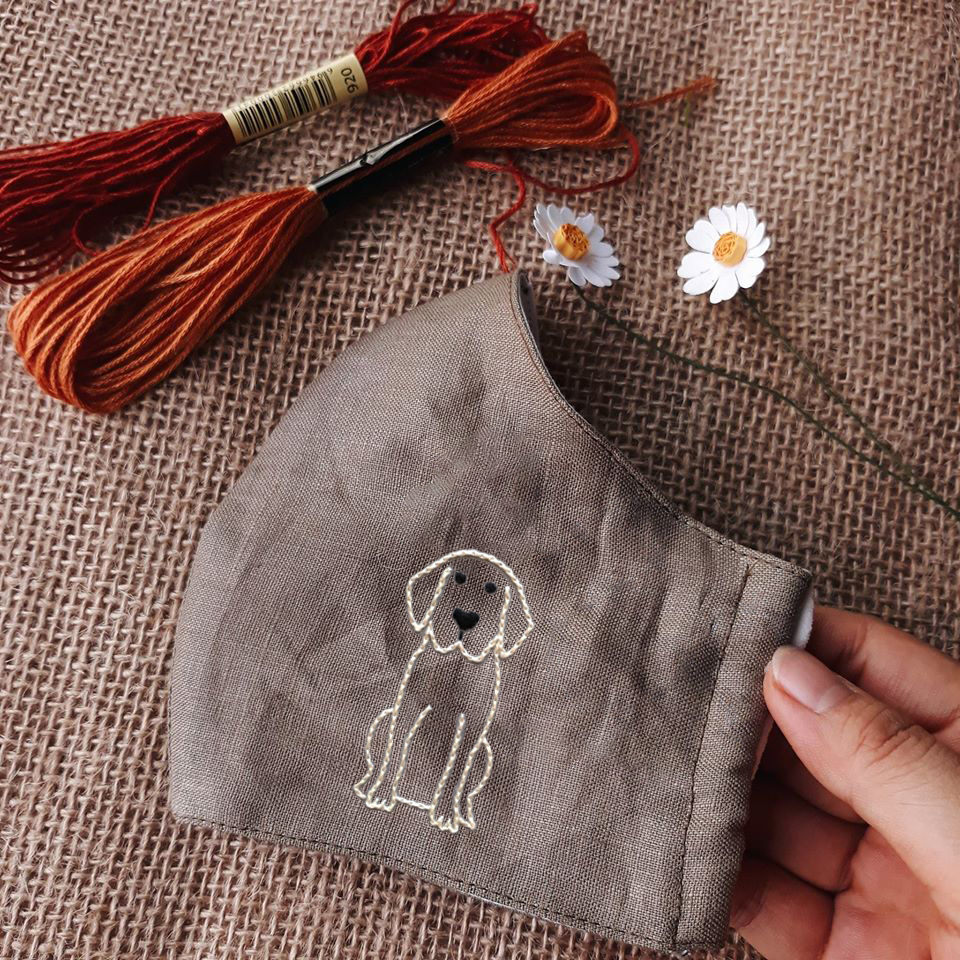[BLACK FRIDAY - CYBER MONDAY] Retriever Hand Embroidery Linen Face Mask
