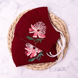 [CLEARANCE SALE] Floral Beads Hand Embroidery Linen Face Mask