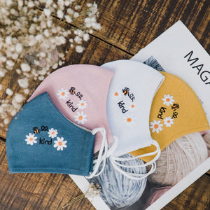 Bee Kind Hand Embroidery Natural Linen FaceMask