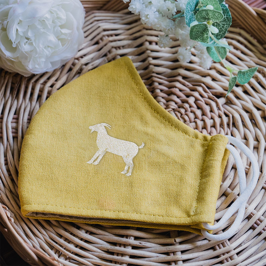 Hand Embroidery Linen Face Mask - Goat Version