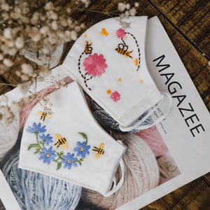 Bee & Floral Hand Embroidery Linen FaceMask