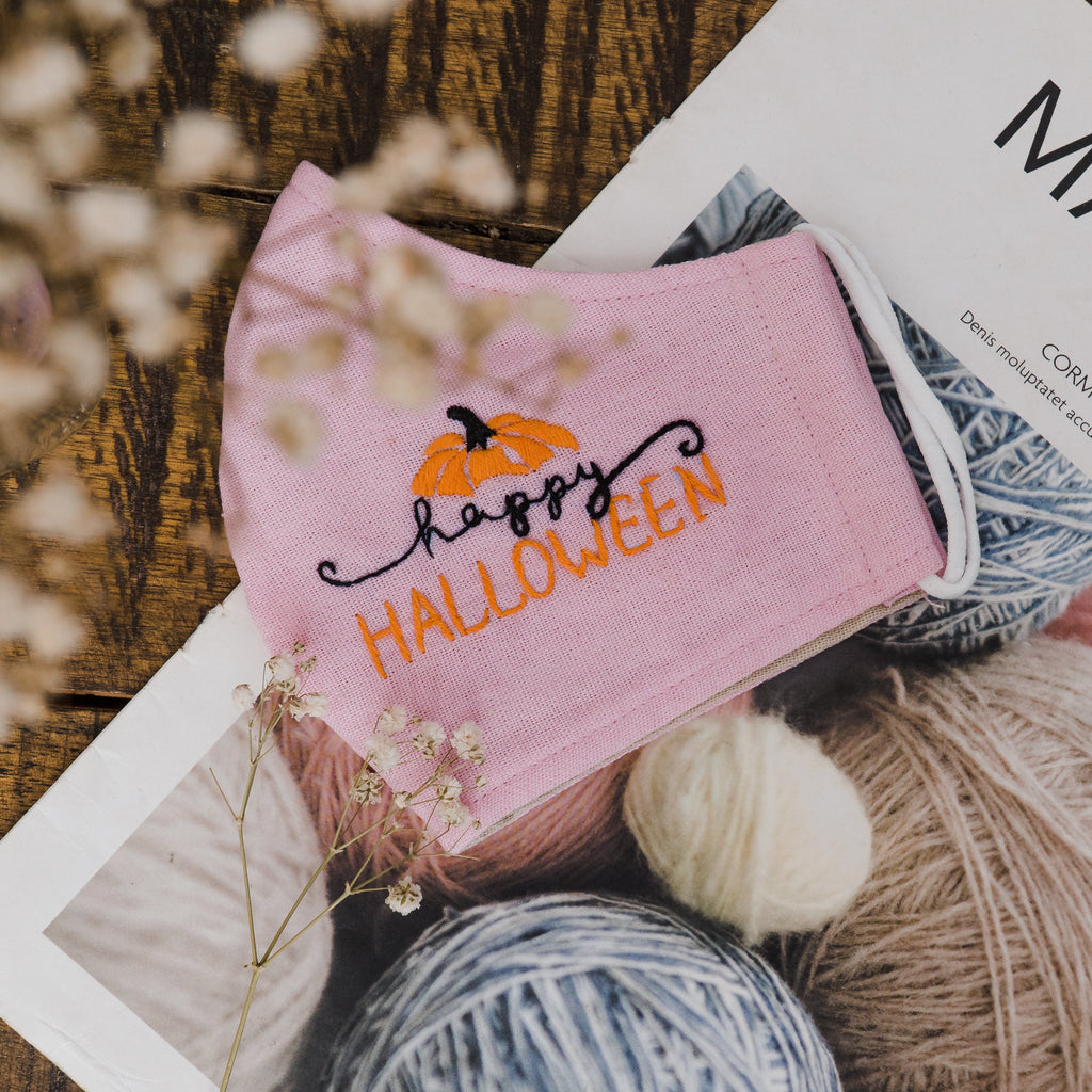 Happy Halloween Hand Embroidery Linen FaceMask