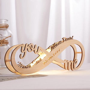 Custom Infinity You & Me Night Light Engraved Wood Lamp - Valentine Gift
