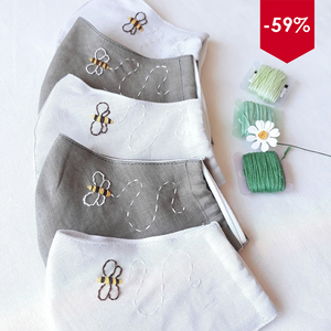 [BLACK FRIDAY - CYBER MONDAY] Honey Bee Hand Embroidery Linen FaceMask