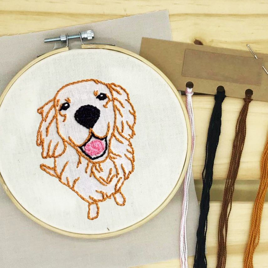 [BIG PROMO] Golden Retriever Hand Embroidery Linen FaceMask