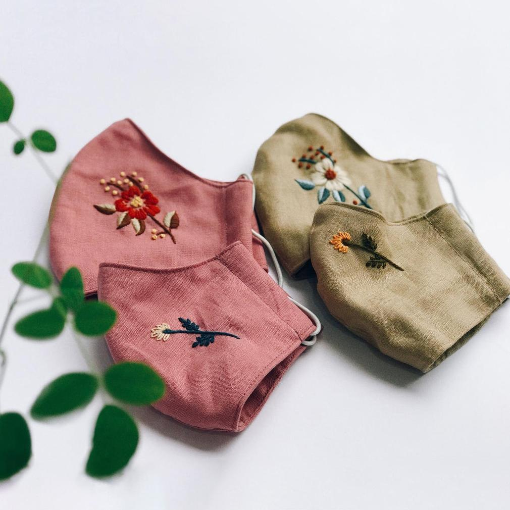 [CLEARANCE SALE] Floral Hand Embroidery Natural Linen Face Mask, Set 2pcs