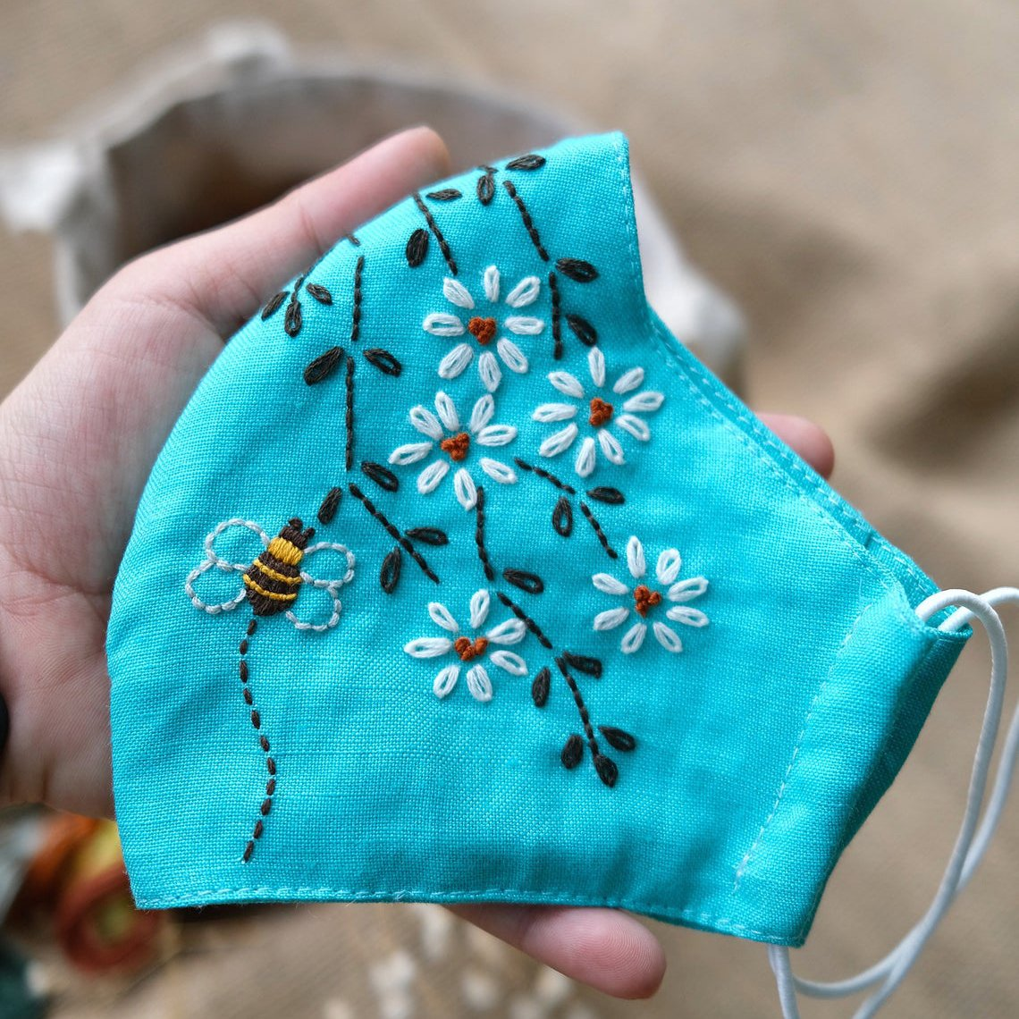 [CLEARANCE SALE] Cute Bee Hand Embroidery Linen FaceMask