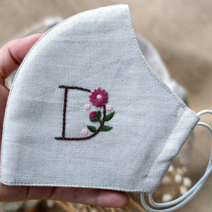 [CLEARANCE SALE] Customized Name Hand Embroidery Linen Face Mask