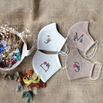 [BIG PROMO] Customized Name Hand Embroidery Linen Face Mask