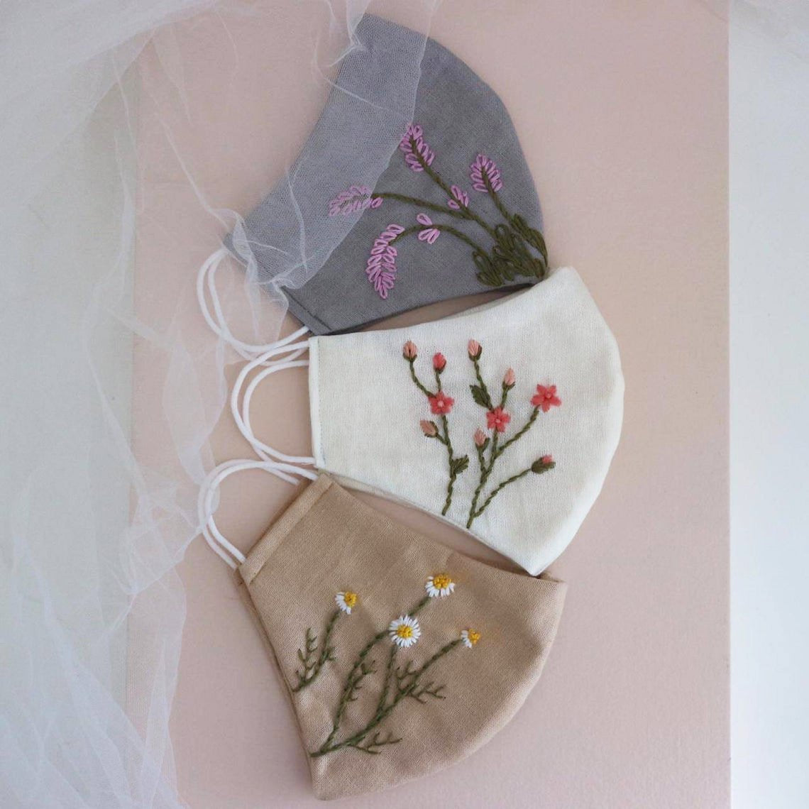 [CLEARANCE SALE] Botanical Hand Embroidery Linen Face Mask