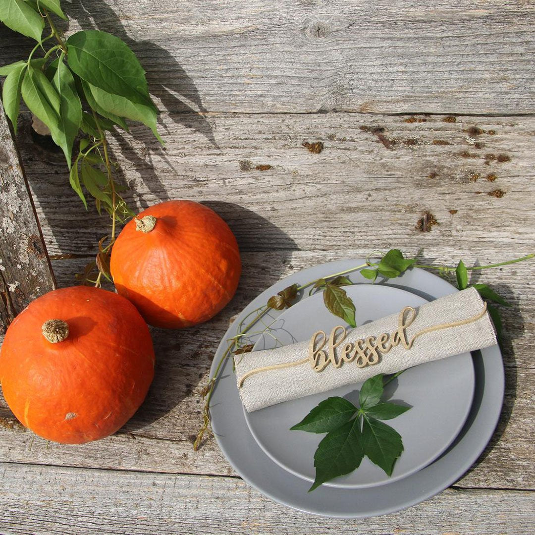[BLACK FRIDAY - CYBER MONDAY] Christmas Table Decor - Grateful, Blessed & Thankful