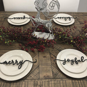 Table Decor for Christmas - Joyful, Merry & Cheers