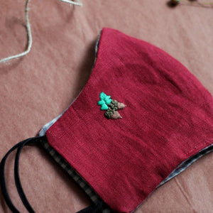 Christmas Hand Embroidery Linen FaceMask