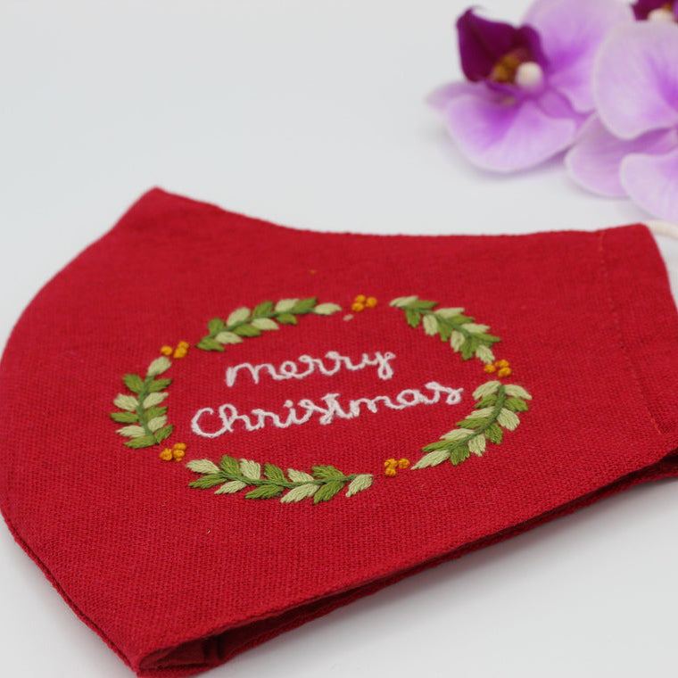 Merry Christmas Hand Embroidery Linen FaceMask