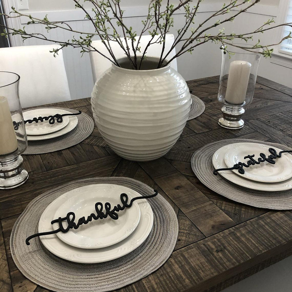 Table Decor for Thanksgiving - Thankful, Grateful & Blessed