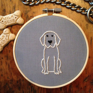 Retriever Hand Embroidery Linen Face Mask