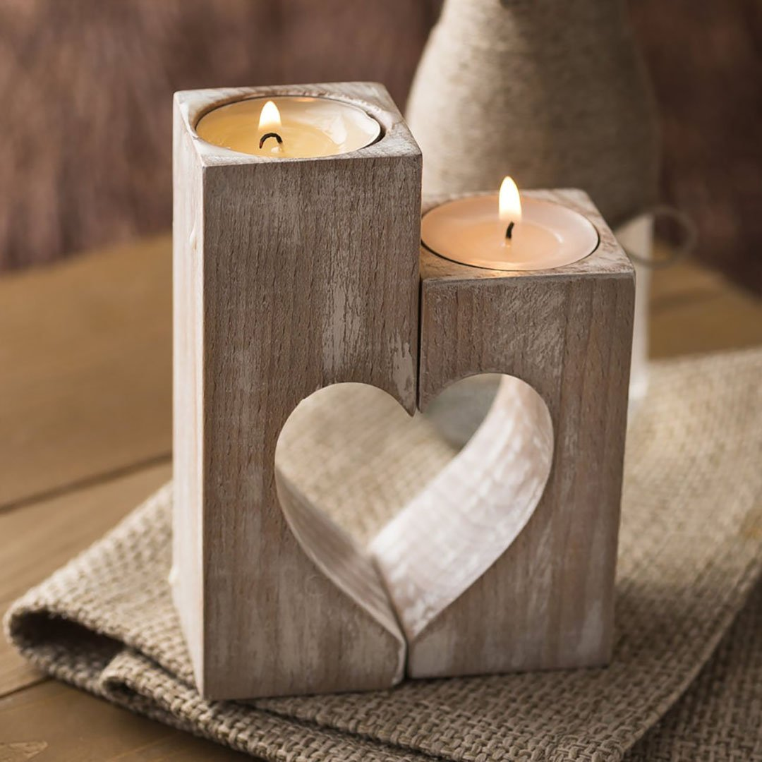 Wood candle holders - Holidays gift or Valentines day decor