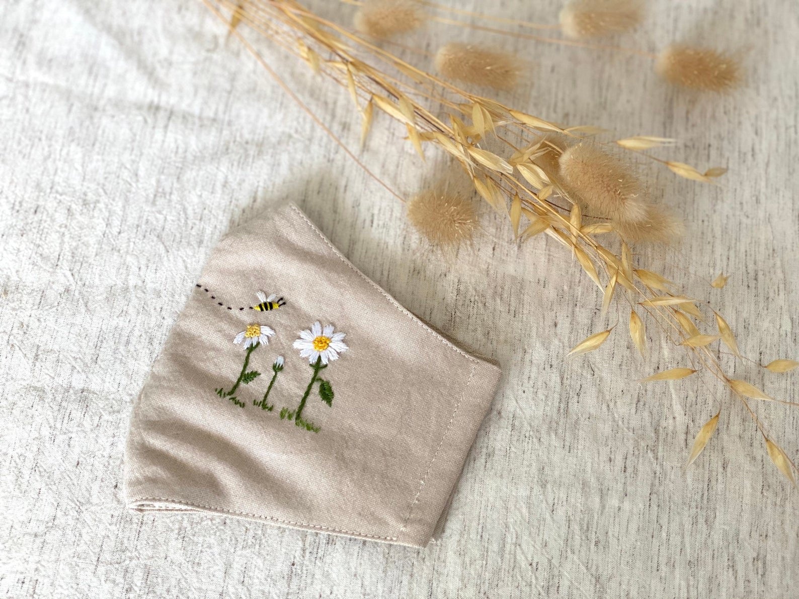 [CLEARANCE SALE] Summer Garden Hand Embroidery Linen Face Mask
